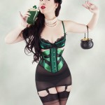 Emerald and black satin ribbon corset