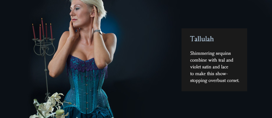 Shimmering sequins combine with teal and violet satin and lace to make this show-stopping overbust corset.