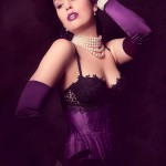 Edwardian underbust corset in purple duchess satin.