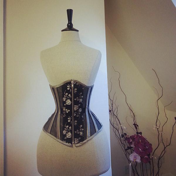 Summer corset made from black silk mesh