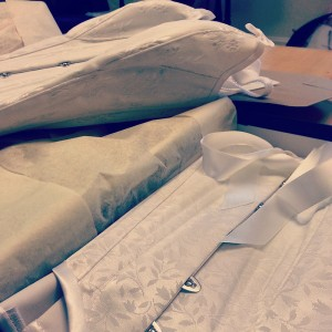 An ivory coutil overbust and underbust corset for a returning client.
