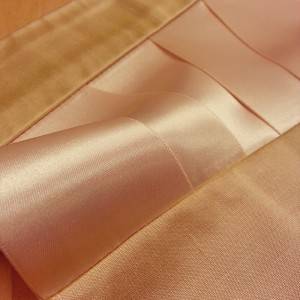 Soft champagne hues of a silk ribbon corset