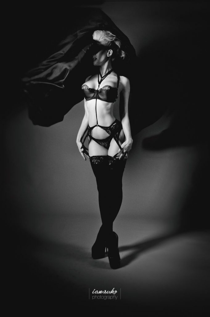 Black and white shot fo Ryo Love in our new lingerie set.