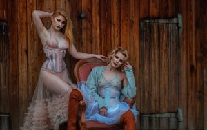 Salleh Sparrow and Georgia A wearing Orchid Corsetry and Katherine Davidson