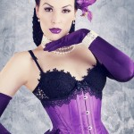 Purple satin underbust corset worn by Deathbird.