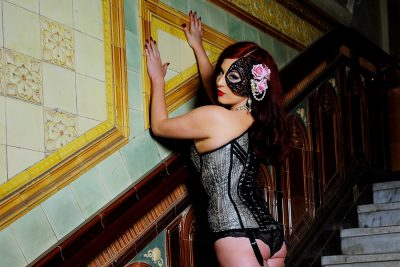 Missy Fatale wears a Chantilly lace overbust by Orchid