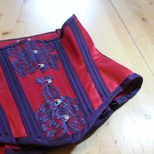 A recent commission from our Gilded Cages range, made in scarlet satin and indigo lace.