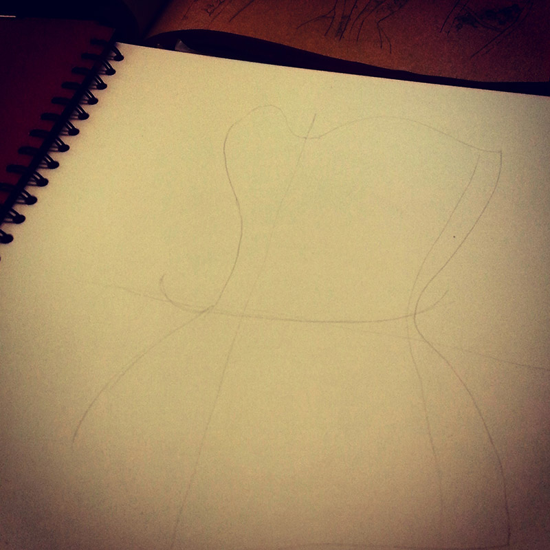 The beginnings of a corset design being sketched out.