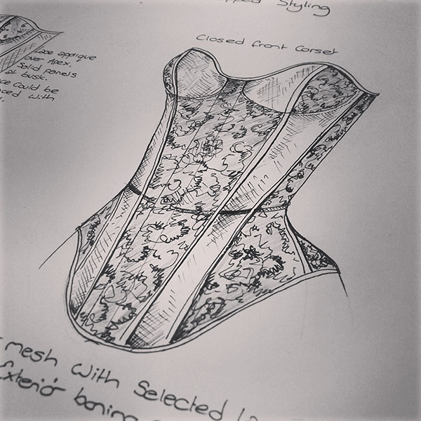 A sketch of a cupped overbust corset.