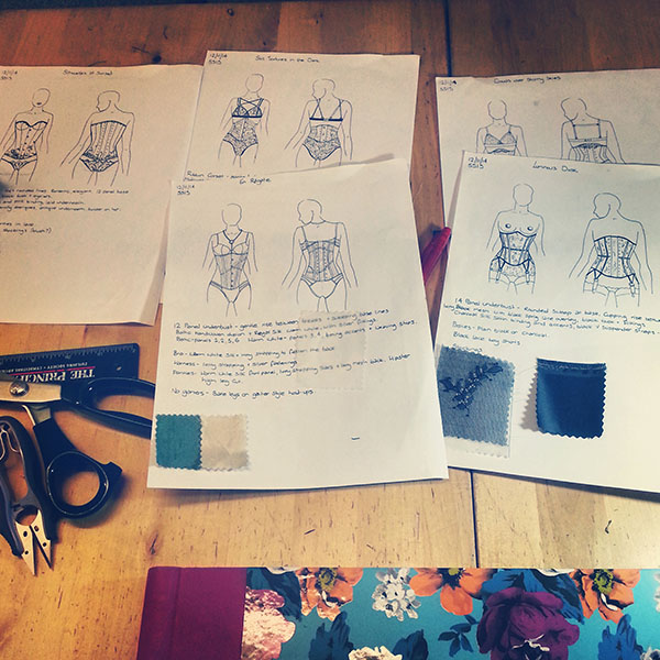 Sketches of corset designs for SS15.