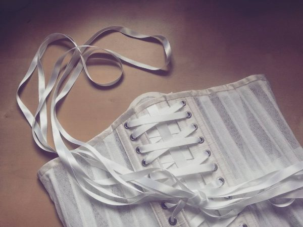 Ivory silk mesh underbust corset