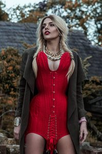 Model wears a specialist corset dress.