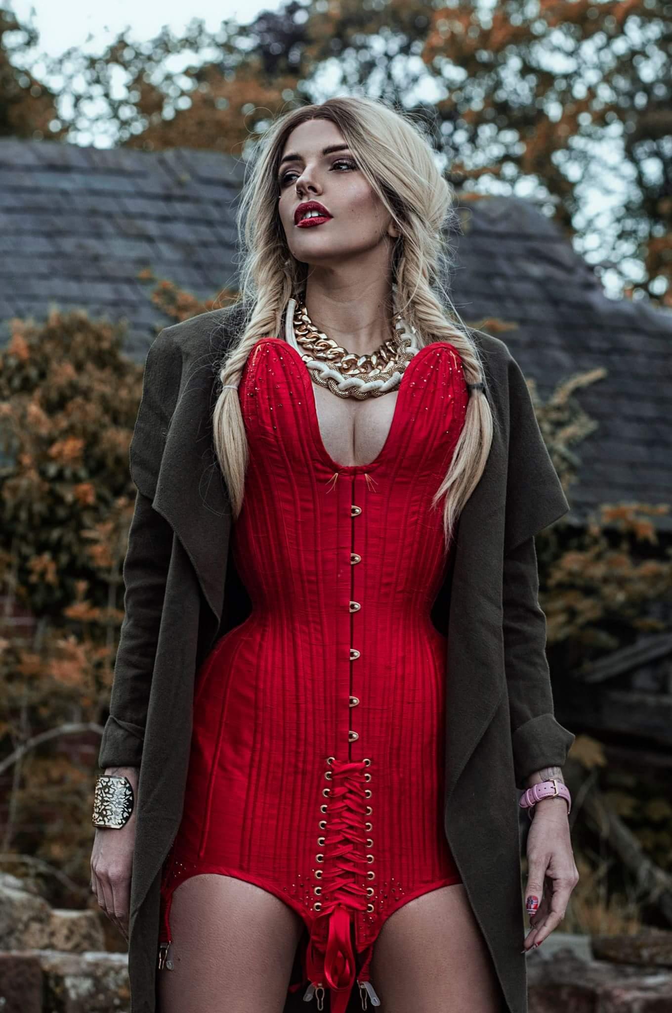 Model wears a specialist corset dress.