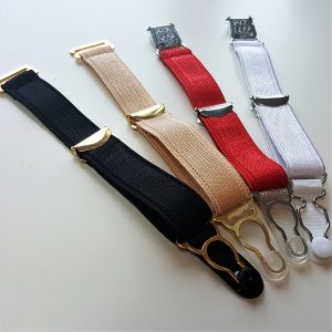 Colours for suspenders from left to right- black, beige, red, white.