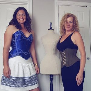 trying on corsets