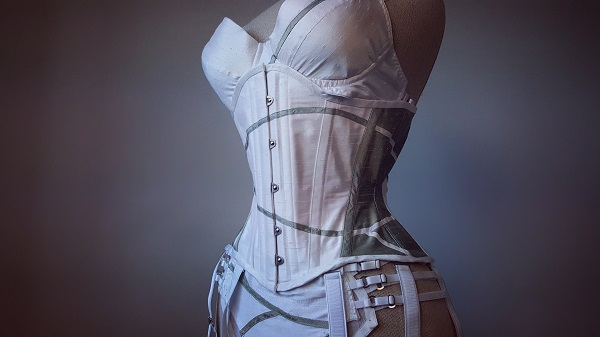 Bespoke corset and lingerie set in white silk.