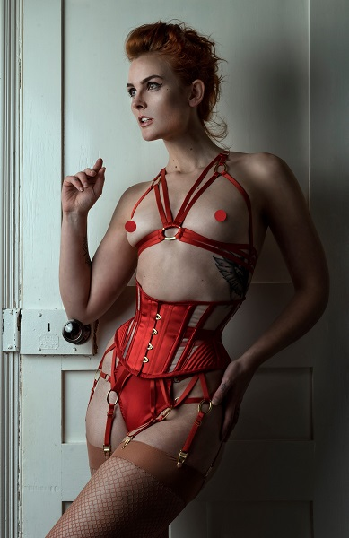 Scarlet satin waspie with red lingerie.