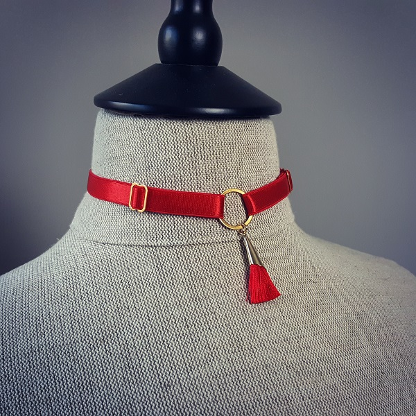 Red choker with tassel