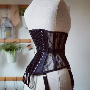black silk underbust corset from side back