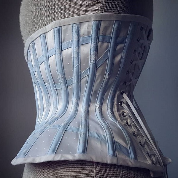 Back view of ivory spot coutil underbust corset