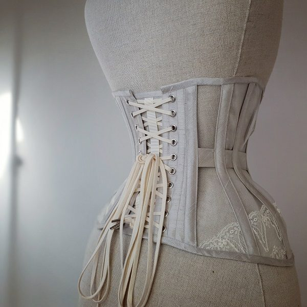 Back of grey silk Edwardian underbust