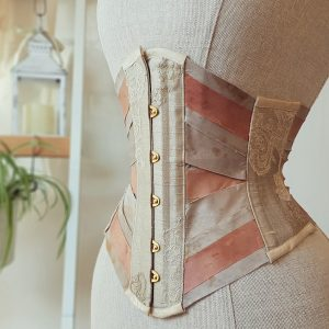 Blush silk ribbon corset