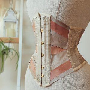 Blush silk ribbon corset