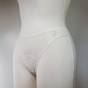 Ivory mesh and lace panties
