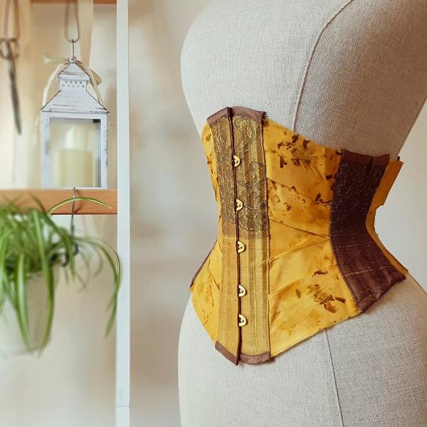 Yellow silk ribbon corset