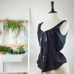 Black silk corset liner