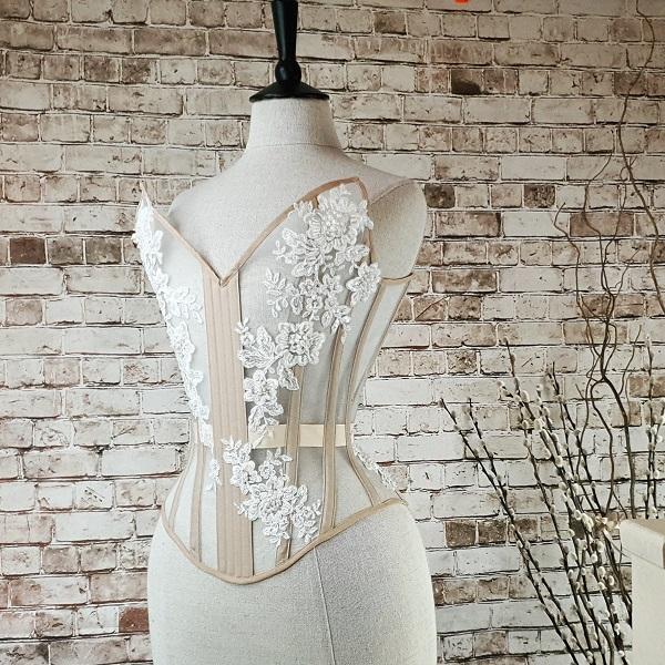 Beaded overbust corset