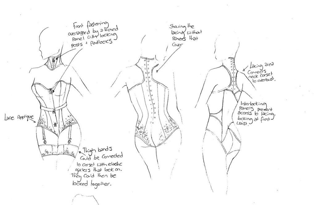 sketches for locking corsetry