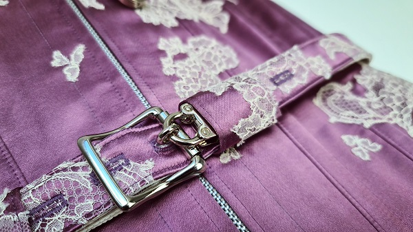 close up of padlock on Little Foxglove corset