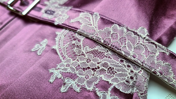 close up of lace detail on Little Foxglove corset