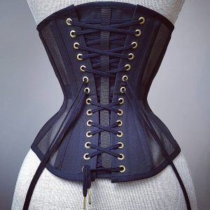 Perle underbust in black mesh