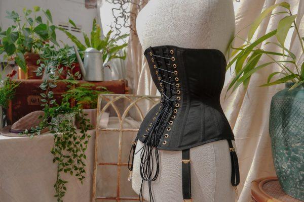 Heledd corset, rear view, new in shop